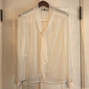NWT JONES NEW YORK petite sheer white blouse